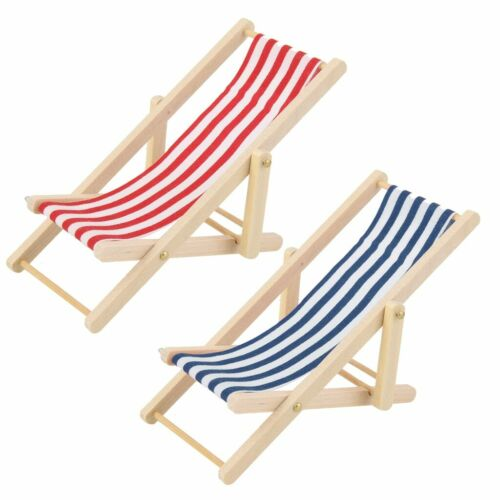 1/12Miniature Furniture Wooden Lounge Chair Blue White Stripe Pretend Play Toy