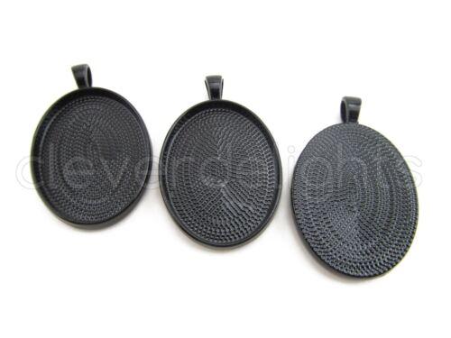20 Oval Pendant Trays Blanks Bezel Setting 22x30mm Black Color