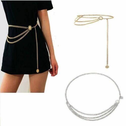 Retro Women Metal Chain Belt Lady High Waist Hip Coin Dress Waistband Body Chain