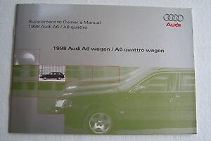 1998 audi a6 avant quattro owners manual wagon supplement new rh ebay com 1998 audi a6 service manual 1997 Audi A6