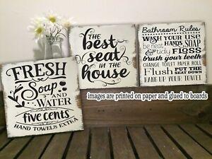 """Bathroom Rules Funny Bathroom Wood Sign  Farmhouse  Shelf Sitter 5/""""x5/""""x1//8/"""""""