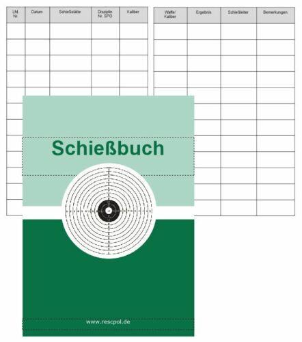 Schiessbuch Nachweisheft für Schützen Sportschützen Nachweis für Behörde DIN A6