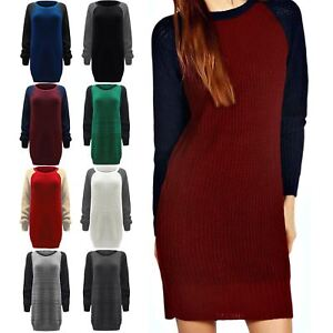 Ladies-Oversized-Jumper-Womens-Chunky-Knitted-Sweater-Contrast-Sleeve-Dress-Top