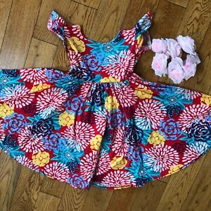 8d322d69b NWT Dot Dot Smile Twirly Summer dress Girls Empire Floral Red