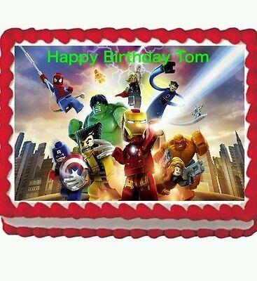 Lego Avengers Hulk birthday party Edible Cake Topper 1//4 sheet