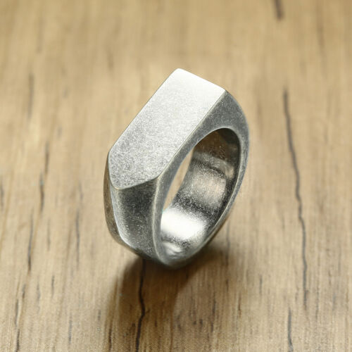 Vintage Rustique Bague homme anti Silver Flat Top Bande Motard Cocktail Party Jewelry