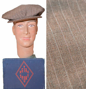 CASQUETTE OLD VINTAGE CAP TISSU AUTHENTIQUE ANTIC FABRIC CANELLE RAYURES TENNIS