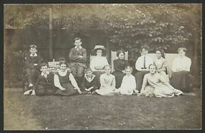 Children-amp-Ladies-Pose-For-a-Photograph-on-the-Lawn-Vintage-RPPC