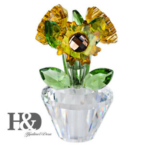 Crystal-Sunflower-Figurine-with-Base-Christmas-Decor-Holiday-Ornaments-Gift-Box