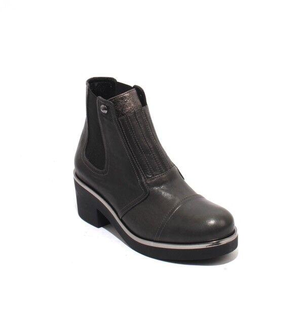 Mot-CLe 661 Plata gris Cuero Tacón Tobillo Elástica tirar-en botas botas botas 40 US 10  ahorra 50% -75% de descuento