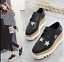 Ladies-Square-Toe-Oxford-High-Wedge-Platform-Lace-Up-Creepers-Leather-Shoes-Size thumbnail 9