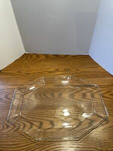 "Vintage Arcoroc France Clear Glass Octagon Octime 13.5"" Platter"