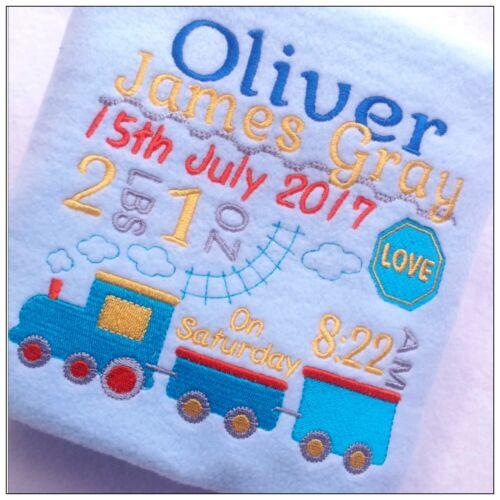 Personalised Baby Blanket Toddler Train birthday Christening Baby shower Boy