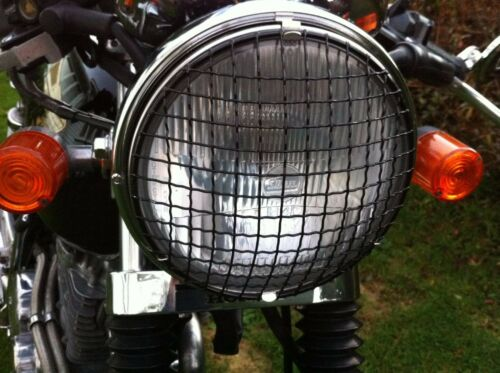 5.75 in MOTORCYCLE HEADLIGHT STONE GUARD Cafe racer bobber chopper FLAT BLACK