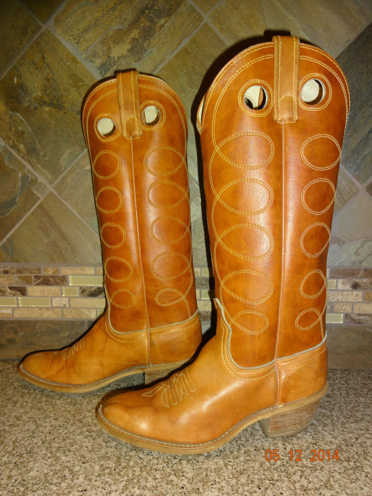 Vintage Womens ACME Sz 5C/Wide Tall Camel Brown Tan Leather Cowboy Boots -GREAT-