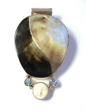 Large 925 Sterling Silver Carved Moon Face, Topaz & Shell Yin & Yang Pendant F29