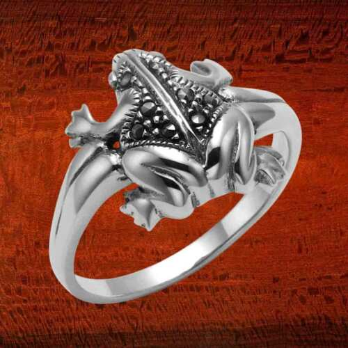 Sterling Silver Frog toad ring avec marcassite pierres