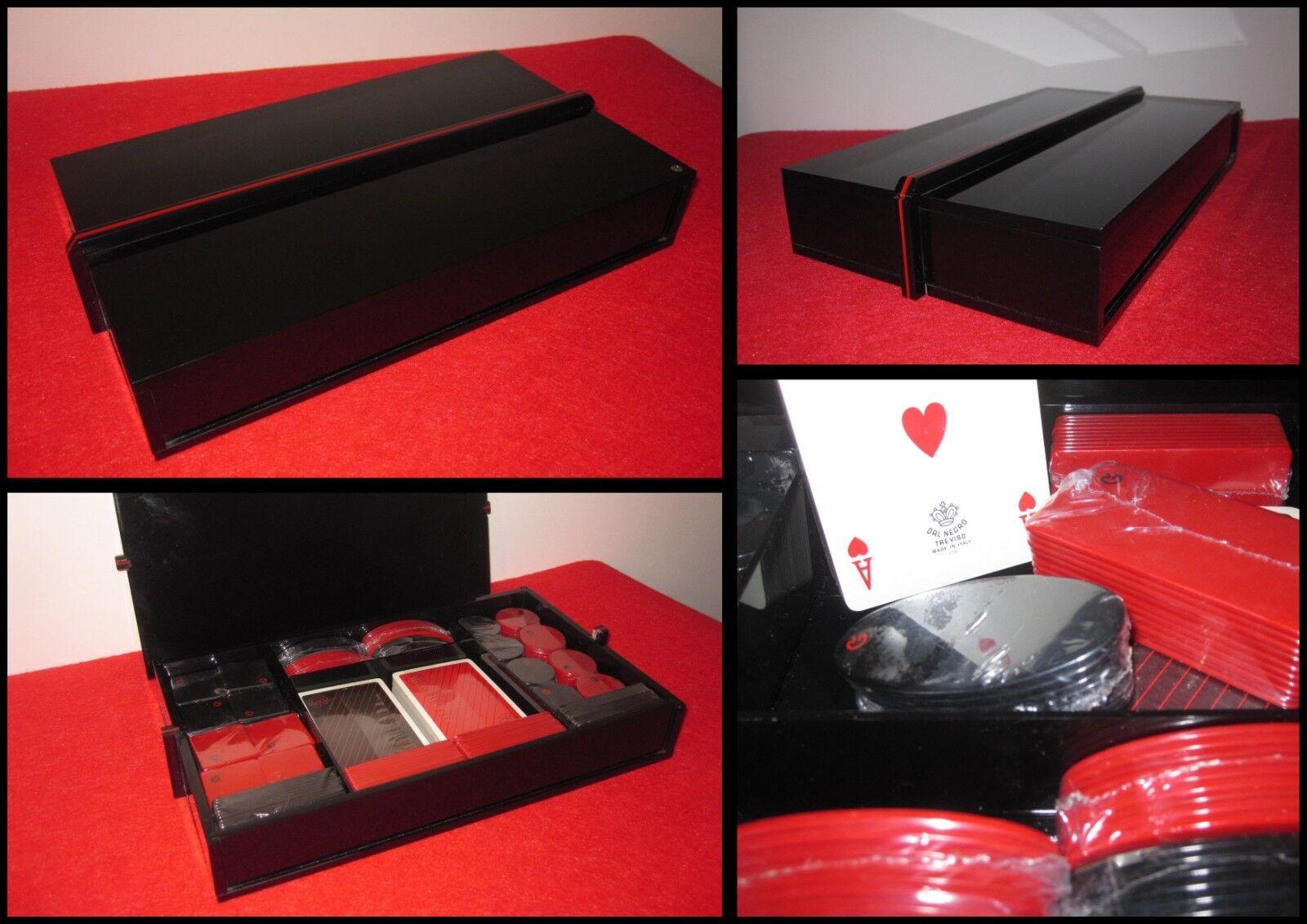 REDE GUZZINI Scatola Box Poker in Radica con carte da da da gioco DAL NEGRO e Fiches c29b96