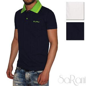 Polo-Uomo-GURU-Sport-Cotone-Tinta-Unita-Maniche-Corte-T-Shirt-Blu-Bianco-SARANI