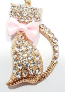 CAT-KEYRING-BAG-CHARM-Diamante-Style-Ideal-Purse-Car-Keyholder-Birthday-Gift