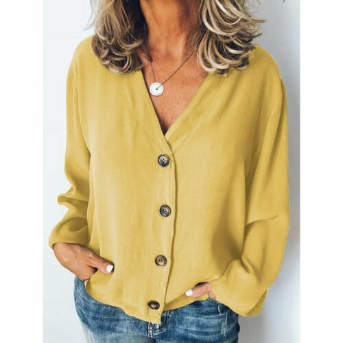 V Neck T-Shirt Cardigan Down Loose Blouse Button Casual Long Sleeve Womens Tops