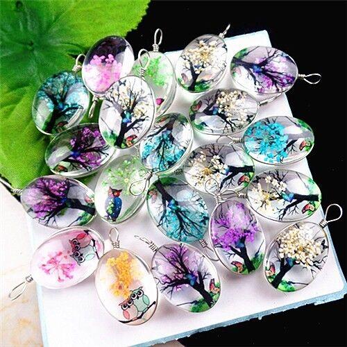 C1111 100pcs 40x30x15mm Beautiful Crystal flower pendant bead