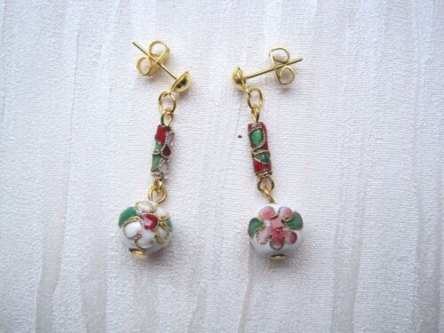 Gold Flower with Red Beads Necklace and Stud Earrings