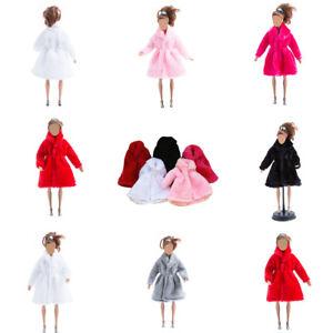 Handmade-Fashion-Hiver-chaud-pardessus-peluche-fourrure-manteau-vetements-pour-poupee-Barbie-UK