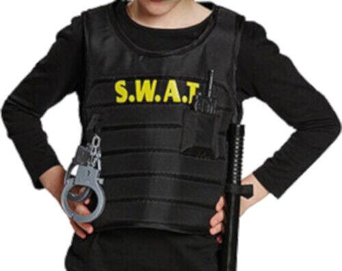 Kinder Polizist FBI SWAT Spezialeinheit Weste Jacke Komplettkostüm Polizeimütze