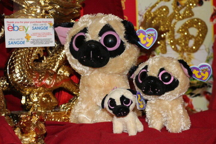 Ty BEANIE BOOS LOT OF 3 PUGSLY (1 BUDDY-1 REGULAR-1 CLIP)-MWNMT-NICE GIFT