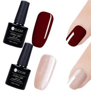 Details About 2x Nail Art Soak Off Gel Polish Shining Pink Pure Wine Red Gel Colors Diy 7 5ml