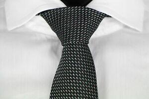 HUGO-BOSS-TAILORED-KRAWATTE-100-Seide-Hand-Made-in-Italy-Black