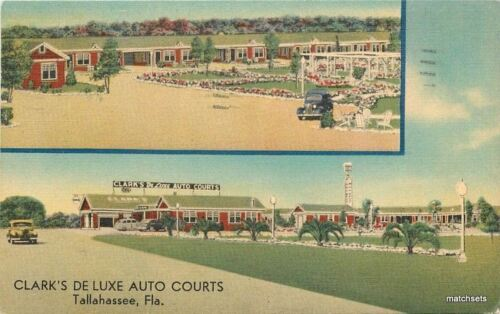 1940s Clark's Deluxe Auto Courts Tallahassee Florida Midwest linen postcard 1298