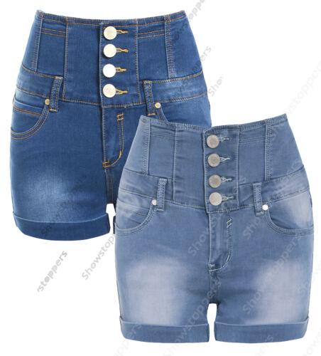 Taglia 8 10 12 14 16 Nuovo Vita Alta Pantaloncini Donna Vita Alta Denim Blu Donna