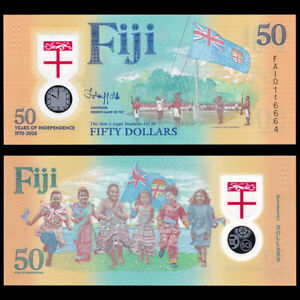 Fiji 50 Dollars, 2020, P-New, Independence 50th COMM., Polymer, Banknote, UNC