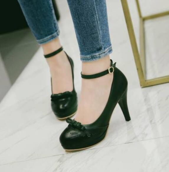 Womens Brogues Lolita Oxford Pointy Toe Chunky Block High Heel Shoes Uk Sz35-44