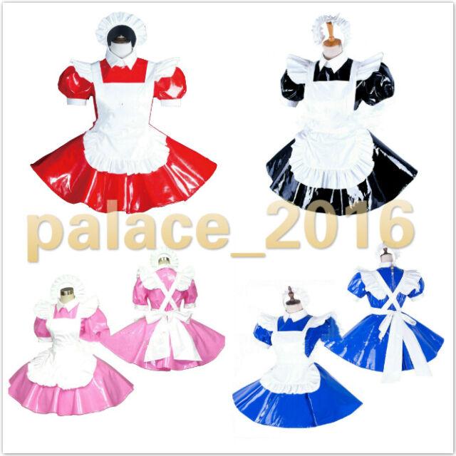 Adult sissy baby Maid PVC Dress Vinyl lockable CD//TV Tailor-made