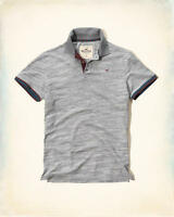 Hollister By Abercrombie Mens Med. Patterned Tipped Pique Grey Polo