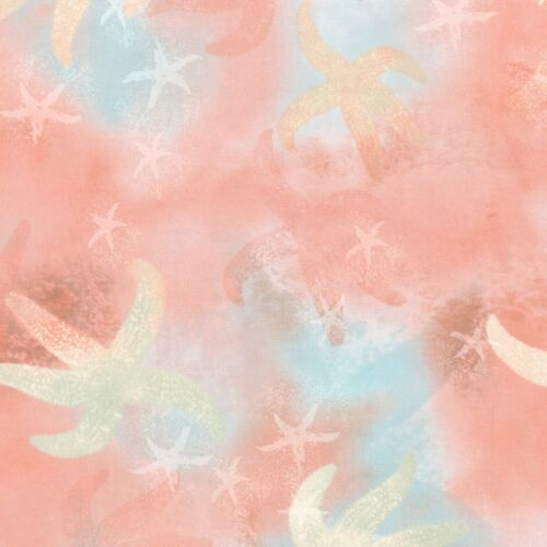 Fabric Beach Starfish Sand in my Toes on Coral Cotton by the 1//4 yard