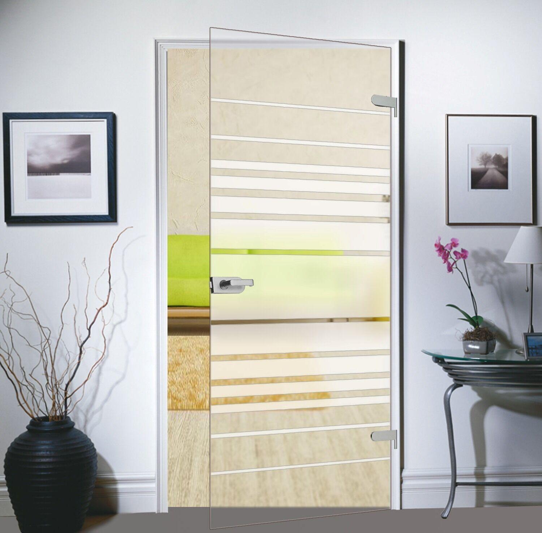 Glas Zimmertür Tür Glastür Drehtür waagerechte Streifen 834x1972 M4834SSR