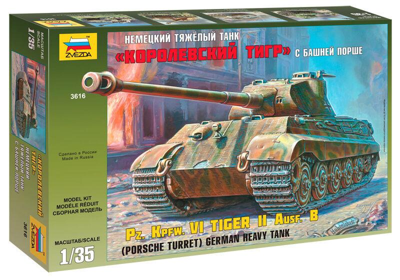 Zvezda 1 3 5 3616  pz.kpfw.vi Tiger II ausf. B with Porsche Tower