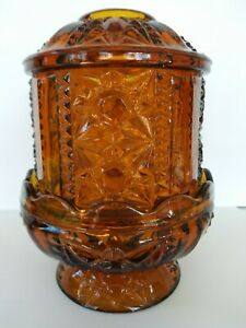 Vintage-Indiana-Glass-Co-Amber-Fairy-Lamp-Candle-Holder-034-Stars-amp-Bars-034-2-Pieces