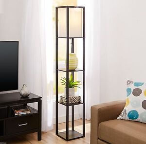 Square Floor Lamp Contemporary Standing Shelf Accent Decor Living