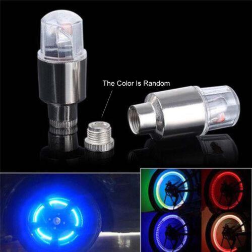 4Pc Wheel Light Bike Motorcycle Wheel Tire Tyre Valve Cap Neon LED FlashLight