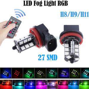 2x-LED-Remote-Control-5050-RGB-Color-Changing-Car-H11-27SMD-Head-Fog-Lights-Bulb
