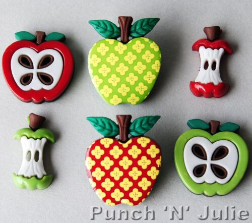 APPLE APPEAL Fruit Core Tree School Children Red Green Dress It Up Craft Buttons