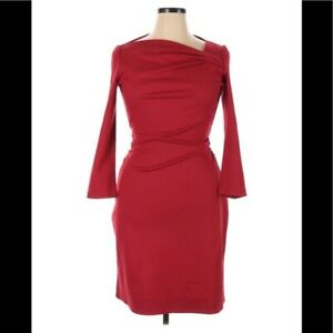 DIANE VON FURSTENBERG Red 3/4 Sleeve Ruched Dress Square Wide Neck Women's 14