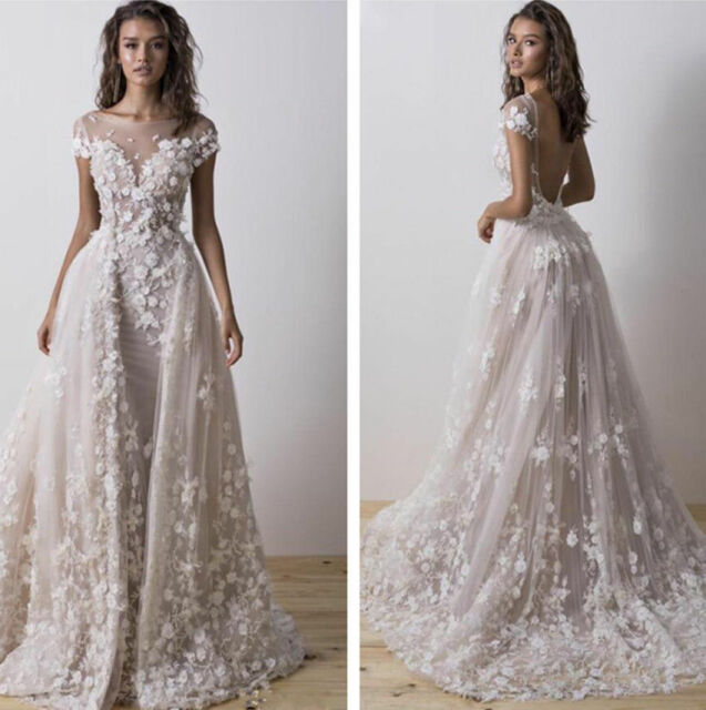 532ff574cab3 Elegant Wedding Dresses Detachable Sweep train Bridal Gown Flower Appliques  Boho