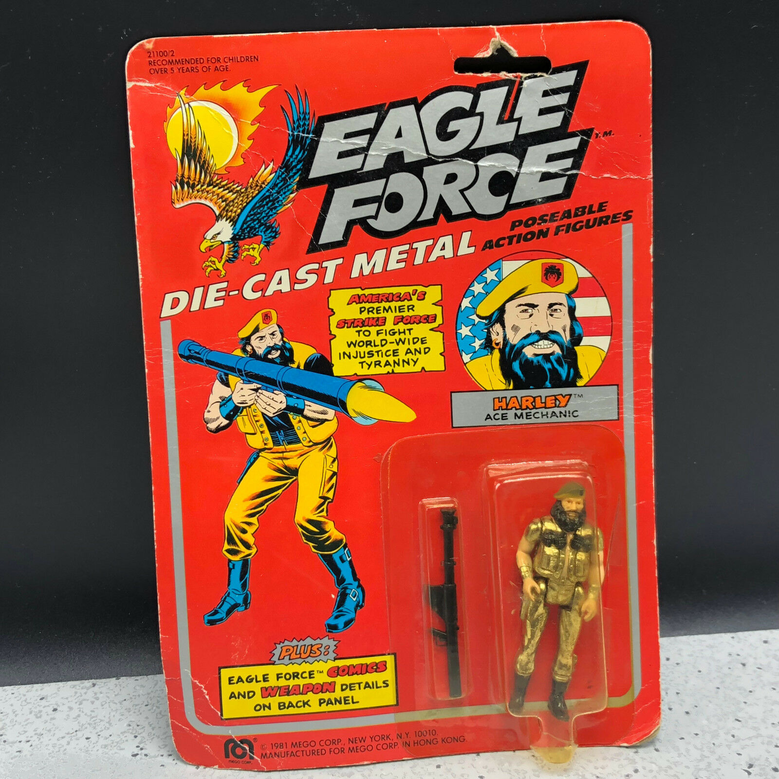 1981 MEGO EAGLE FORCE ACTION FIGURE MOC DIE CAST SOLDIER HARLEY ACE MECHANIC RPG