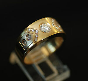 Original Italian Fancy Diamond Dome Style Mens Pinky Ring 18k 750 Ebay